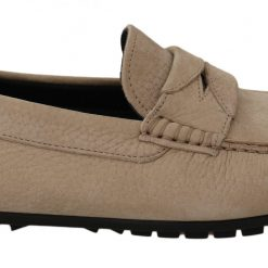 Dolce & Gabbana Beige Leather Flat Loafers Casual Mens Shoes