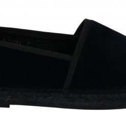 Dolce & Gabbana Blue Velvet Espadrilles Loafers flat Shoes