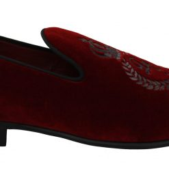 Dolce & Gabbana Bordeaux Velvet Crown Royal Loafers Shoes