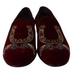 Dolce & Gabbana Bordeaux Velvet Loafers Gun Horseshoe Shoes
