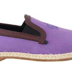 Dolce & Gabbana Purple Cotton Leather Crown Loafers