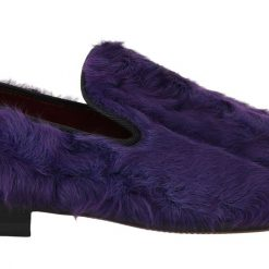 Dolce & Gabbana Purple Sheep Fur Leather Loafers