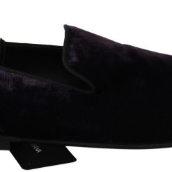 Dolce & Gabbana Purple Velvet Flat Loafers Slip Ons Shoes