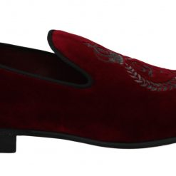 Dolce & Gabbana Red Velvet Crown Embroidered Loafers Shoes