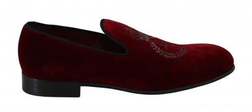 Red Velvet Crown Embroidered Loafers Shoes