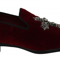 Dolce & Gabbana Red Velvet Crystal Cross Loafers Shoes