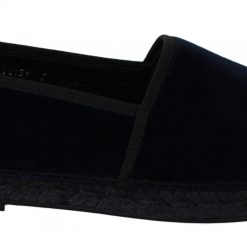 Dolce & Gabbana Blue Velvet Leather Espadrilles Flats Shoes