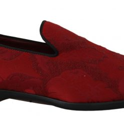 Dolce & Gabbana Red Jacquard Loafers Dress Formal Shoes