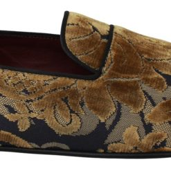 Dolce & Gabbana Blue Gold Velvet Brocade Loafers Shoes
