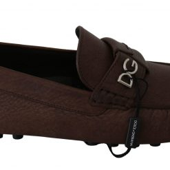Brown Leather Flat Loafers Slip Ons Shoes