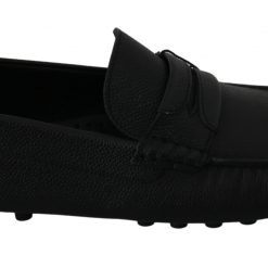 Dolce & Gabbana Black 100% Leather Flat Casual Loafers Shoes