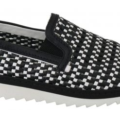 Dolce & Gabbana Black White Woven Leather Loafers Shoes