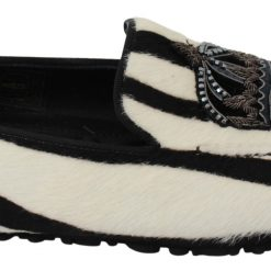 Dolce & Gabbana White Crown Pony Hair Slippers Loafers Shoes