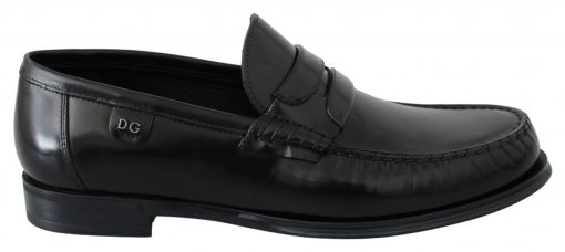 Dolce & Gabbana Black Leather Moccasins Dress Loafers Shoes