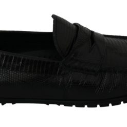 Dolce & Gabbana Black Lizard Leather Flat Loafers Shoes