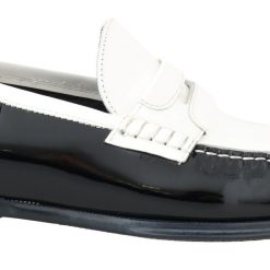 DG Black White Leather Loafers