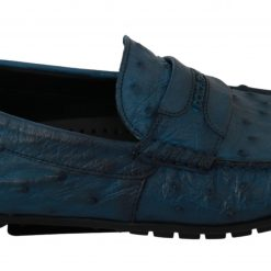 DG Blue Mens Flat Skin Leather Loafers Exotic Shoes