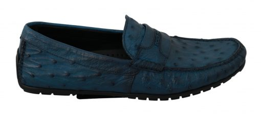 Dolce & Gabbana Blue Mens Flat Skin Leather Loafers Exotic Shoes