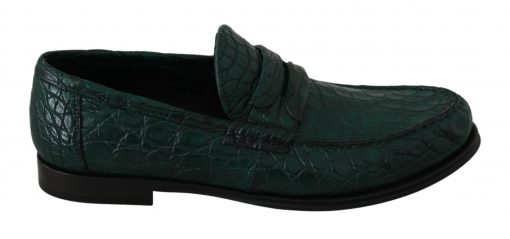 Dolce & Gabbana Leather Exotic Skin Green Mens Flat Loafers