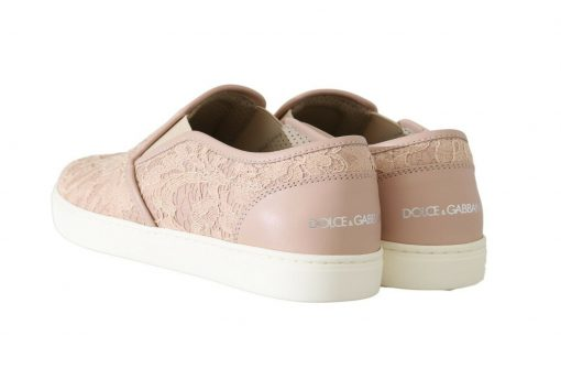 Dolce & Gabbana Pink Leather Lace Slip On Loafers