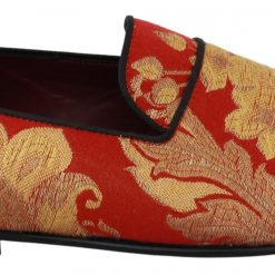 DG Red Gold Brocade Slippers Loafers Shoes