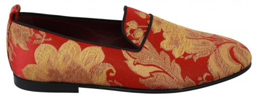 Dolce & Gabbana Red Gold Brocade Slippers Loafers Shoes
