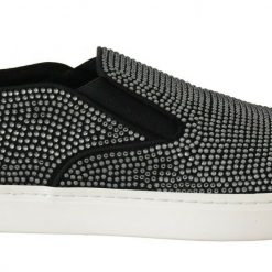 DG Black Cotton Leather Crystal Loafers Shoes
