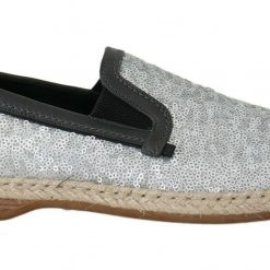 DG Blue Leather Silver Sequined Loafers Shoes