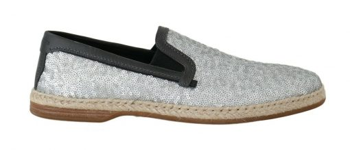 Dolce & Gabbana Blue Leather Silver Sequined Loafers Shoes
