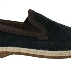 DG Blue Leather Suede Casual Loafers Shoes