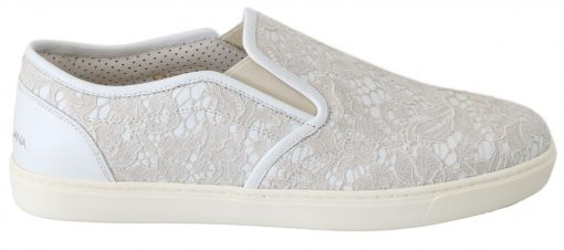Dolce & Gabbana White Leather Lace Slip On Loafers Shoes