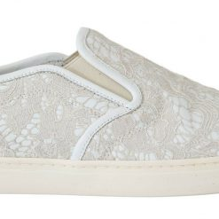 DG White Leather Lace Slip On Loafers Shoes