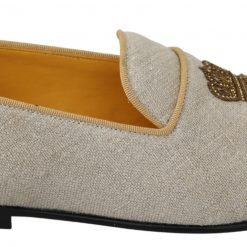 DG Beige Leather Woven DG Crown Slippers Loafers Shoes