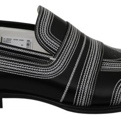DG Black White Leather Slippers Loafers Shoes
