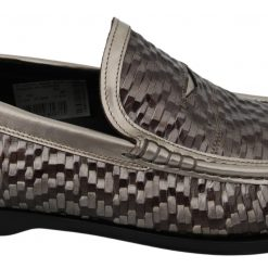 DG Brown Leather Woven Slippers Moccasins Shoes