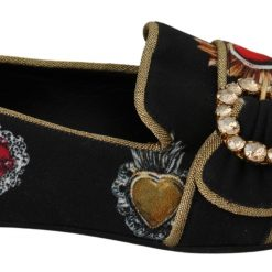 DG Black Amore Heart Crystal Loafers Shoes